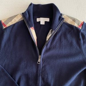 Burberry Navy Cardigan with Classic Check Trim